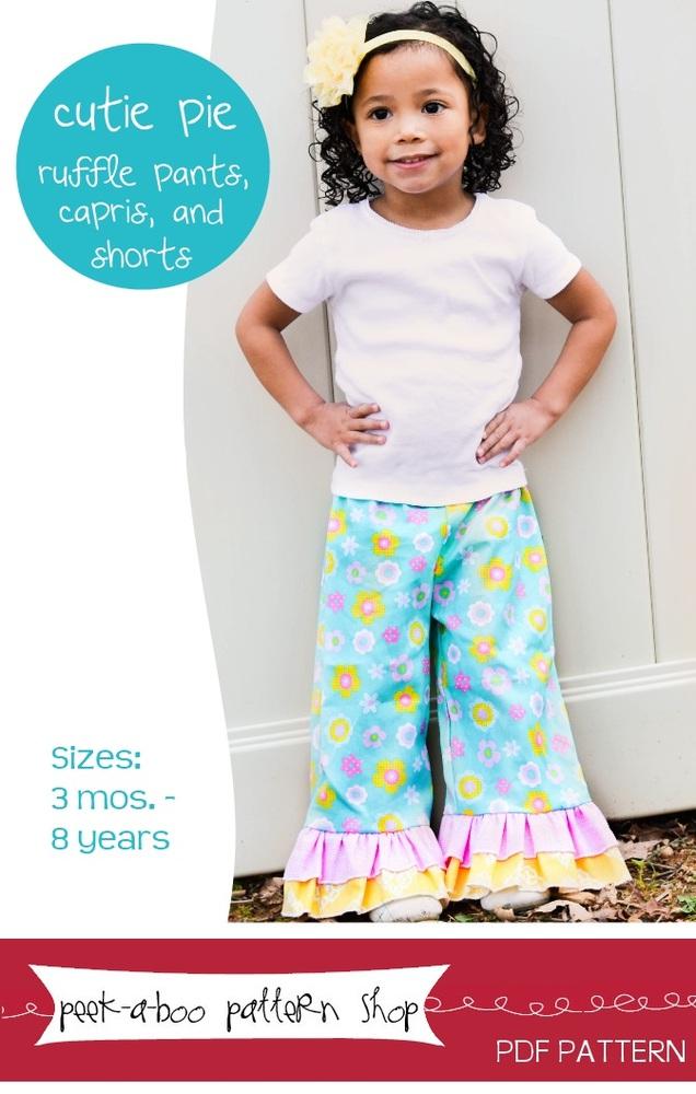 Peek-a-Boo Pattern Shop Cutie Pie Ruffle Pants, Shorts and Capris Downloadable Pattern Cutie Pie Ruffle Pants, Shorts and Capris