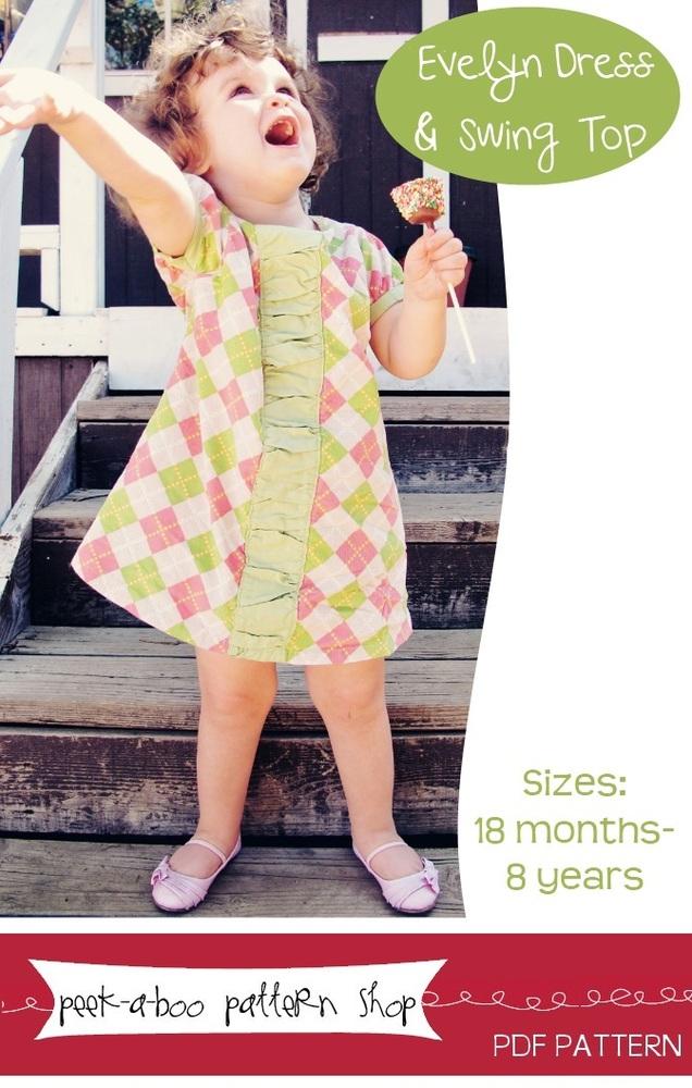 Peek-a-Boo Pattern Shop Evelyn Dress and Swing Top Downloadable Pattern Evelyn Dress and Swing Top