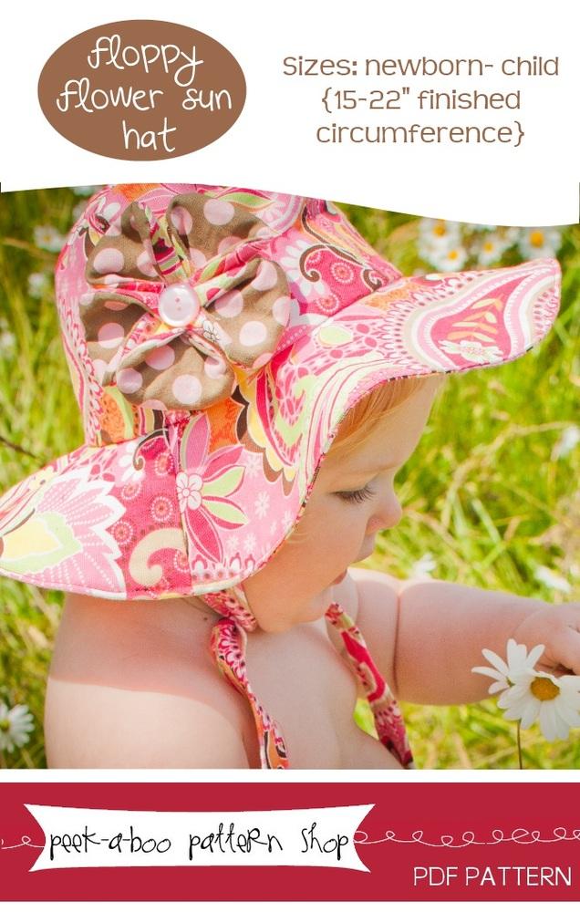 Peek-a-Boo Pattern Shop Floppy Flower Sun Hat Downloadable Pattern Floppy Flower Sun Hat