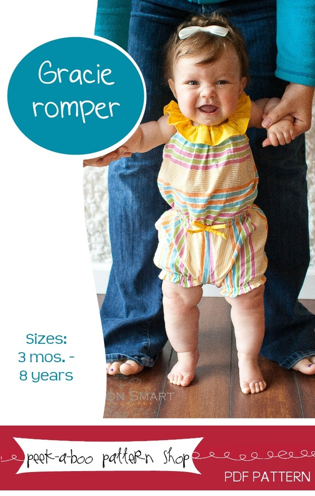 Peek-a-Boo Pattern Shop Gracie Romper Downloadable Pattern Gracie Romper
