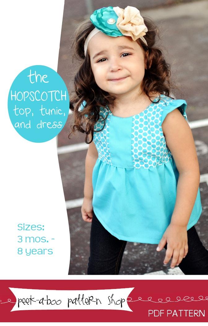 Peek-a-Boo Pattern Shop Hopscotch Top, Tunic, and Dress Downloadable Pattern Hopscotch Top, Tunic, and Dress