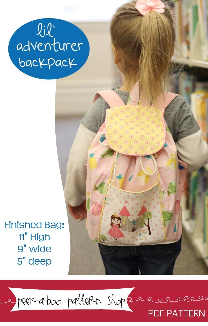 Peek-a-Boo Pattern Shop Lil-Adventurer Backpack Downloadable Pattern Lil-Adventurer Backpack