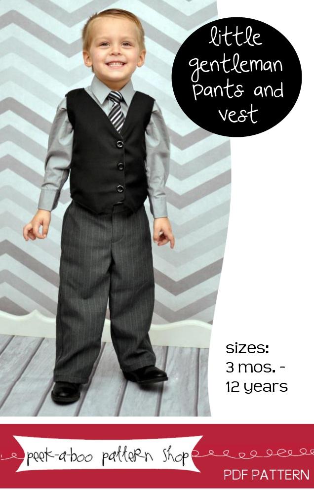 Peek-a-Boo Pattern Shop Little Gentelman Pants and Vest Downloadable Pattern Little Gentelman Pants and Vest