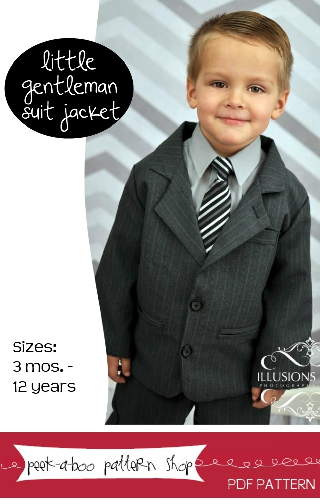 Peek-a-Boo Pattern Shop Little Gentelman Suit Jacket Downloadable Pattern Little Gentelman Suit Jacket