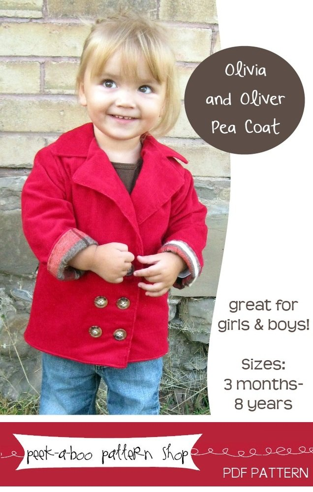 Peek-a-Boo Pattern Shop Olivia and Oliver Pea Coat Downloadable Pattern Olivia and Oliver Pea Coat