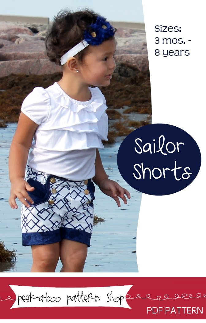 Peek-a-Boo Pattern Shop Sailor shorts Downloadable Pattern Sailor shorts