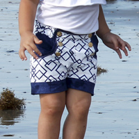 Peek-A Boo Sailor shorts Digital Pattern ( Size 3 mo -8 years )