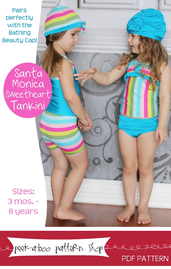 Peek-a-Boo Pattern Shop Santa Monica Sweetheart Tankini Downloadable Pattern Santa Monica Sweetheart Tankini