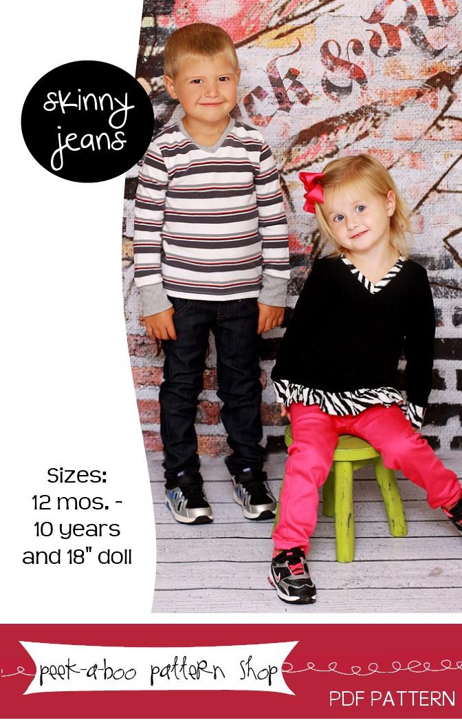 Peek-a-Boo Pattern Shop Skinny Jeans Downloadable Pattern Skinny Jeans