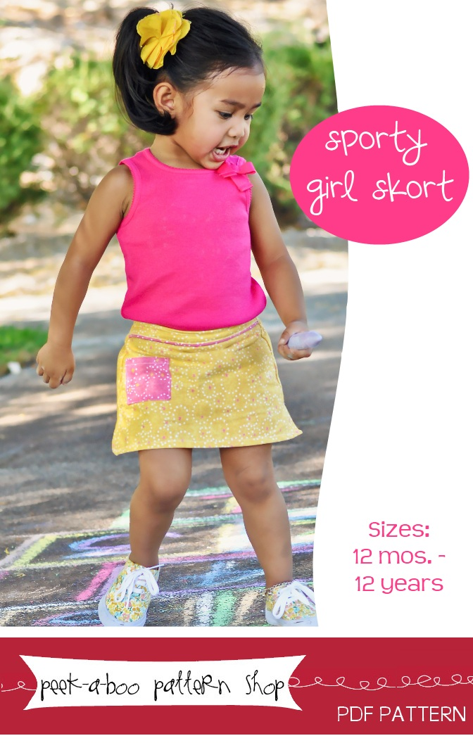 Peek-a-Boo Pattern Shop Sporty Girl Skort Downloadable Pattern Sporty Girl Skort