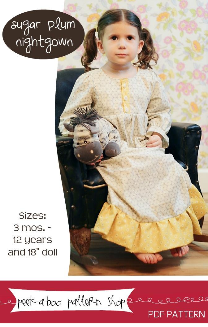 Peek-a-Boo Pattern Shop Sugar Plum Nightgown Downloadable Pattern Sugar Plum Nightgown