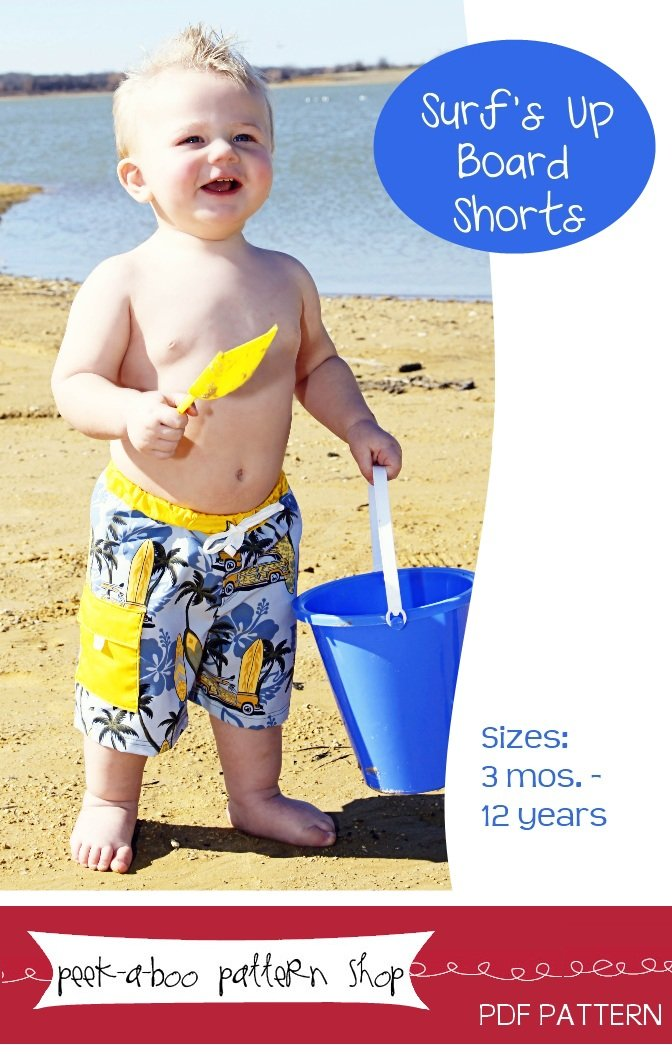 Peek-a-Boo Pattern Shop Surf's Up Board Shorts Downloadable Pattern Surf's Up Board Shorts