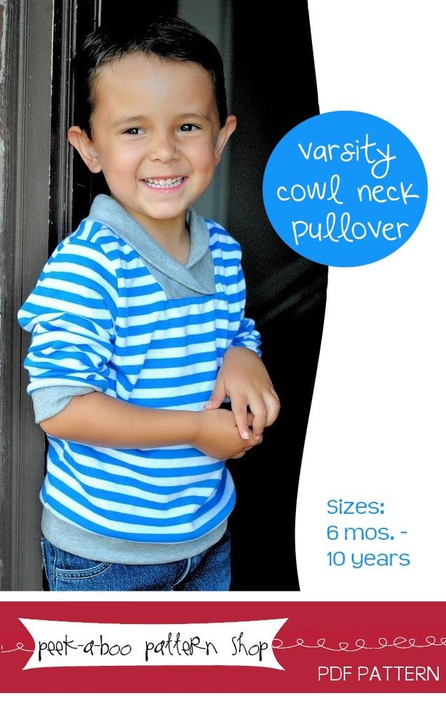 Peek-a-Boo Pattern Shop Varsity Cowl Neck Pullover Downloadable Pattern Varsity Cowl Neck Pullover