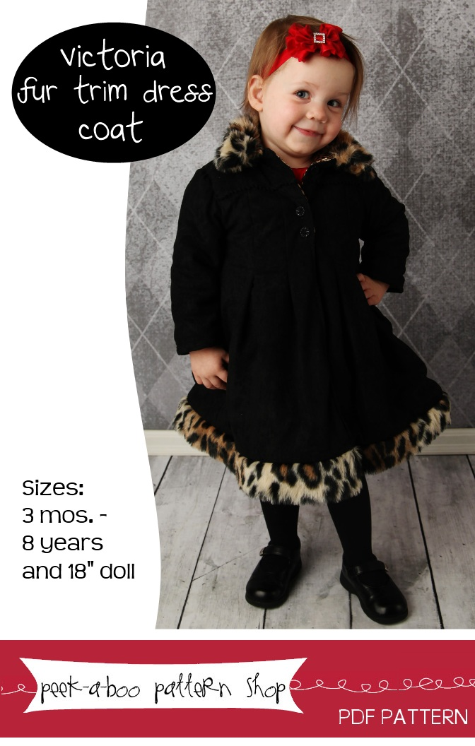 Peek-a-Boo Pattern Shop Victoria Fur Trim Dreess Coat Downloadable Pattern Victoria Fur Trim Dreess Coat