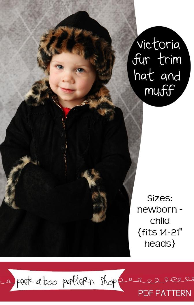 Peek-a-Boo Pattern Shop Victoria Fur Trim Hat and Muff Downloadable Pattern Victoria Fur Trim Hat and Muff