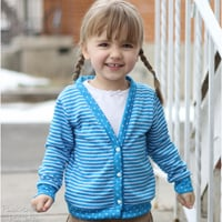 Peek-A Boo V-Neck Cardigan Digital Pattern ( Size 3 mo -12 years )