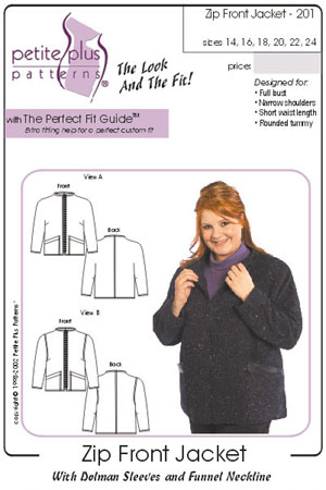 Petite Plus Patterns Zip Front Jacket 201