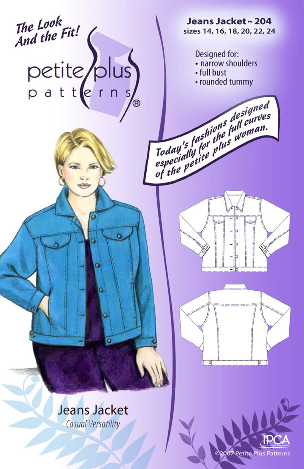 Petite Plus Patterns Jeans Jacket 204