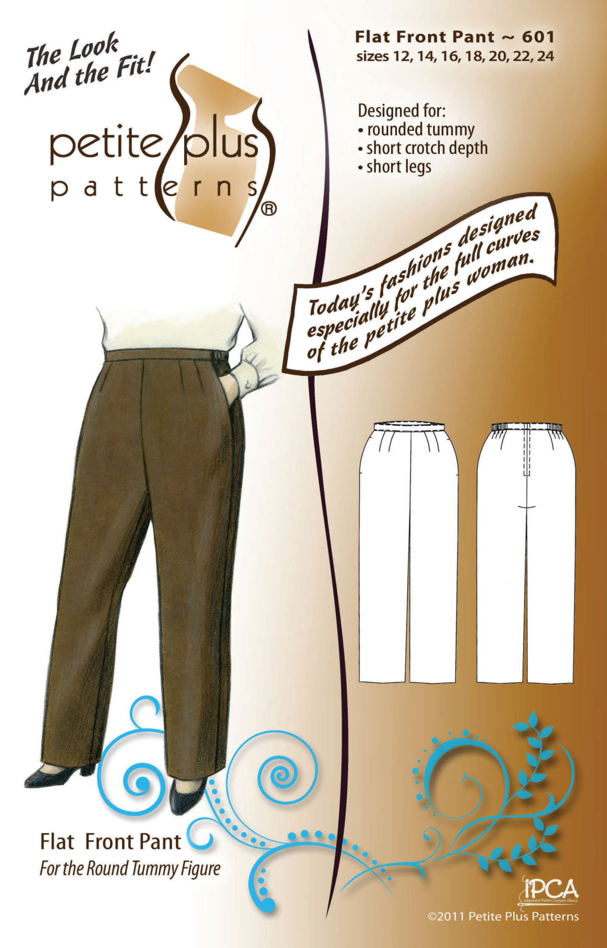 Petite Plus Patterns Flat Front Pant 601