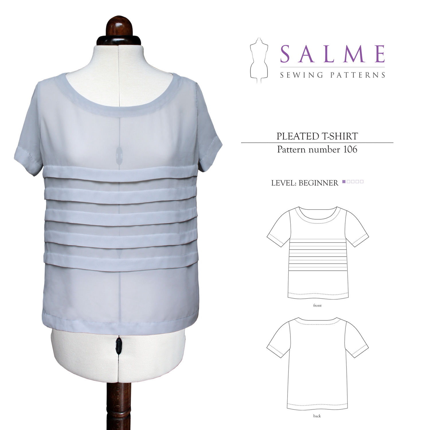 Salme Sewing Patterns Pleated T-Shirt Downloadable Pattern 106