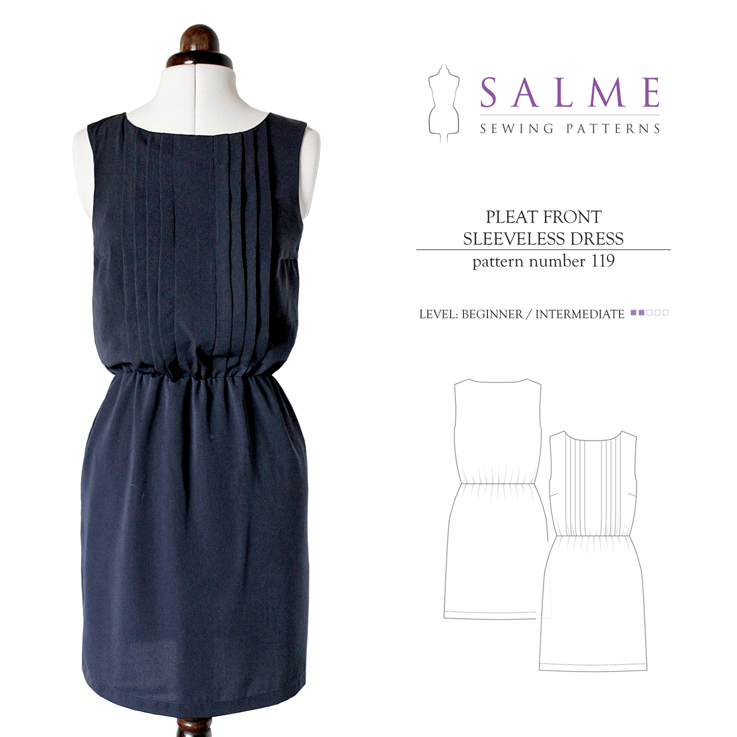 Salme Sewing Patterns Pleat Front Sleeveless Dress Downloadable Pattern 119