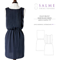 Salme Pleat Front Sleeveless Dress Digital Pattern