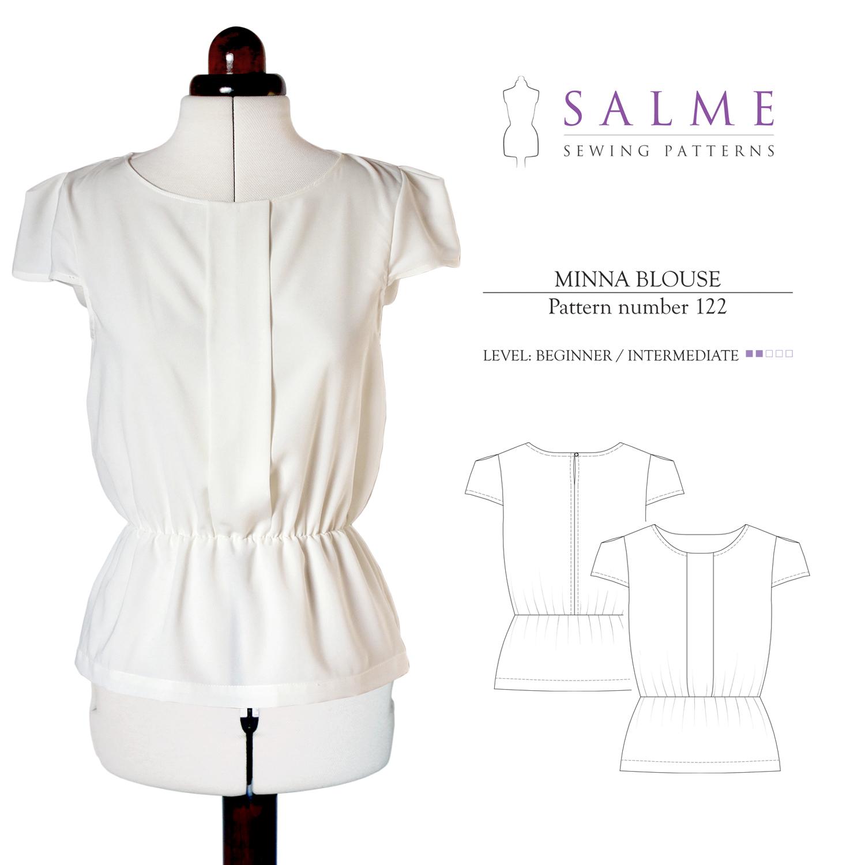 Salme Sewing Patterns Minna Blouse Downloadable Pattern 122