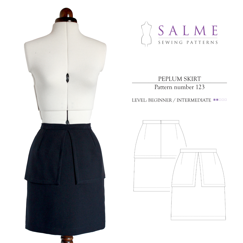 Salme Sewing Patterns Peplum Skirt Downloadable Pattern 123