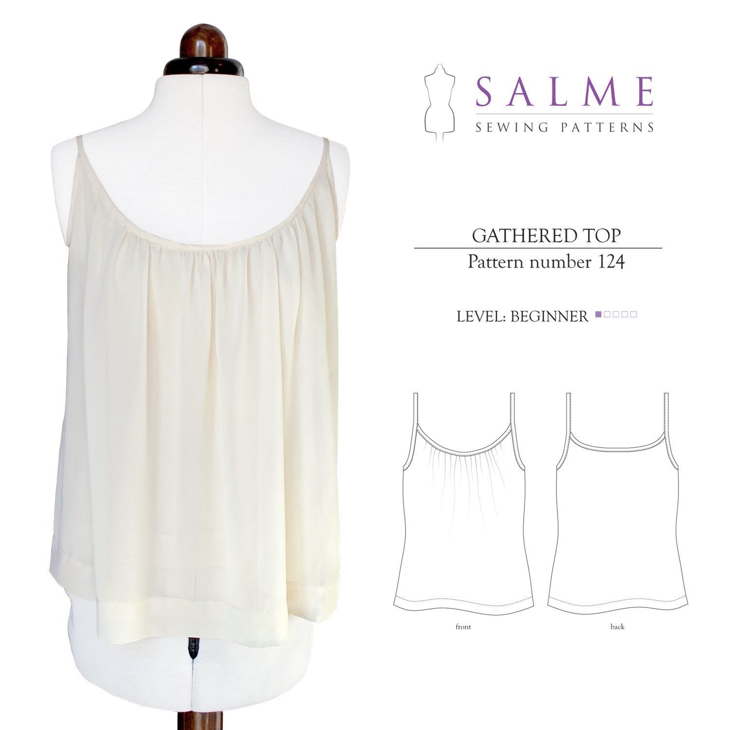 Salme Sewing Patterns Gathered Top Downloadable Pattern 124