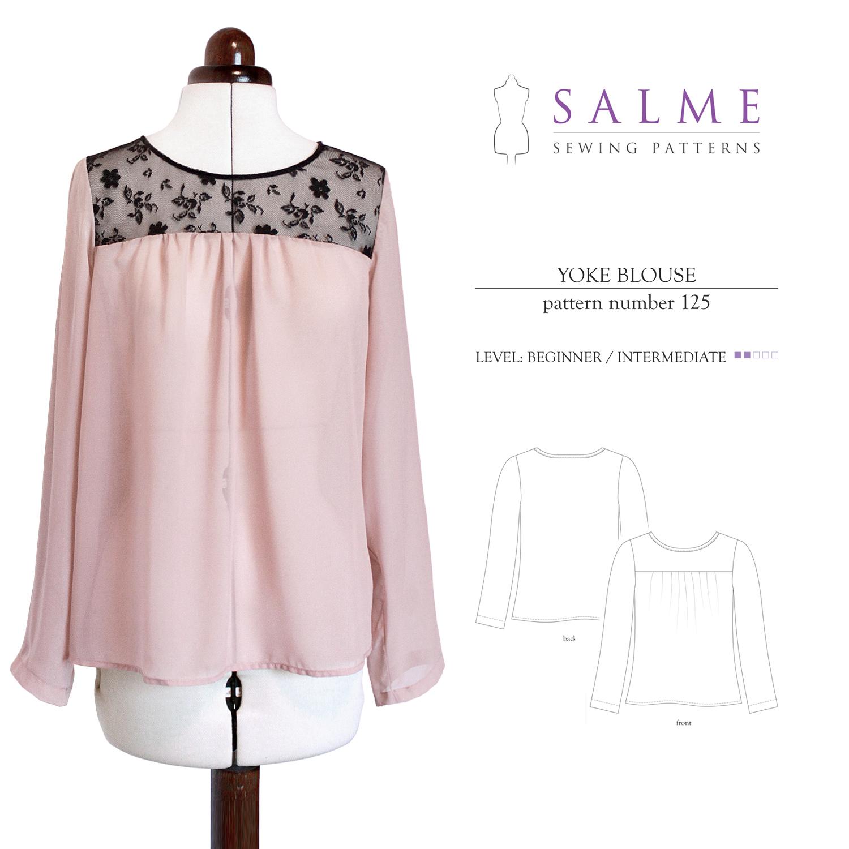 Salme Sewing Patterns Yoke Blouse Downloadable Pattern 125