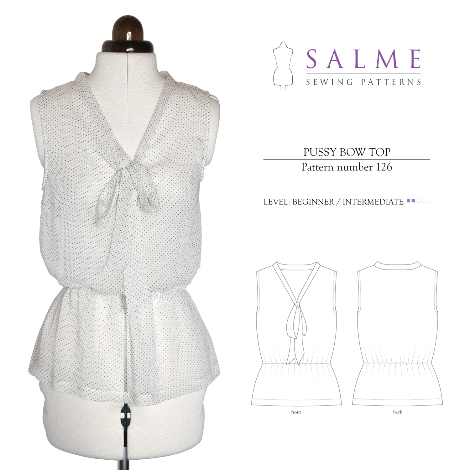 Salme Sewing Patterns Pussy Bow Blouse Downloadable Pattern 126