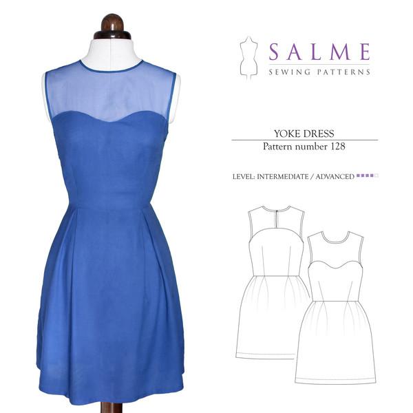 Salme Sewing Patterns Yoke Dress 128