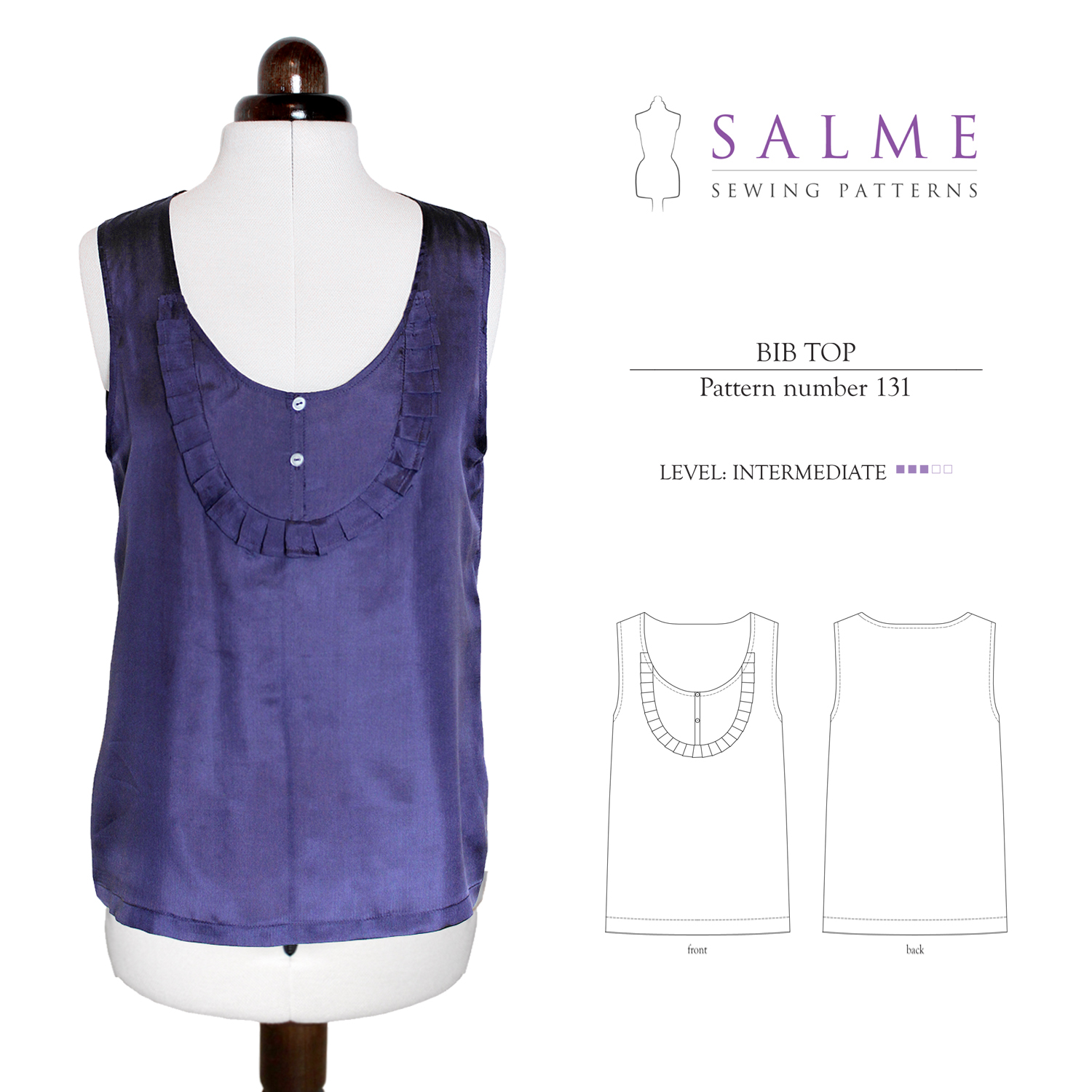 Salme Sewing Patterns Bib Top Downloadable Pattern 131