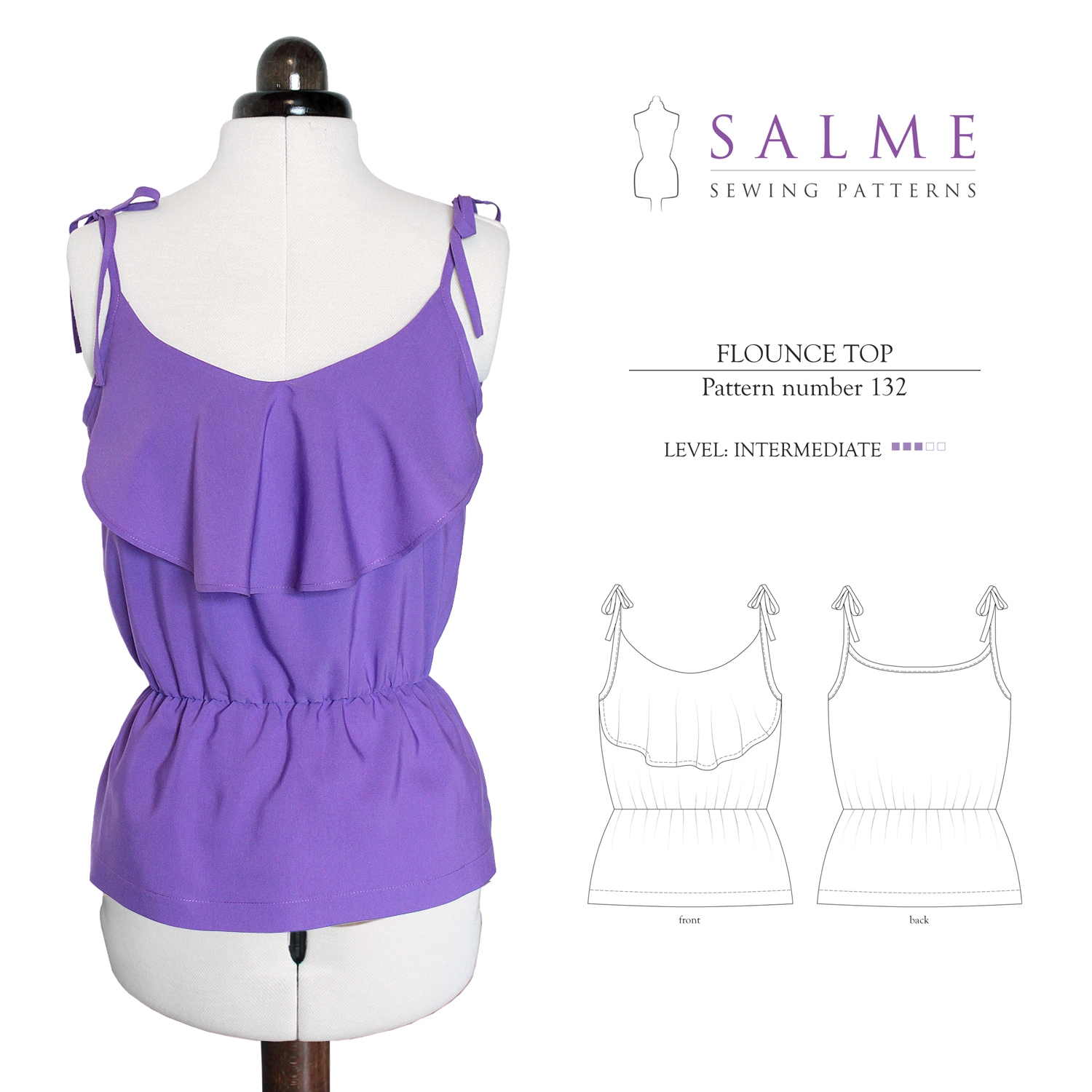 Salme Sewing Patterns Flounce Top Downloadable Pattern 132