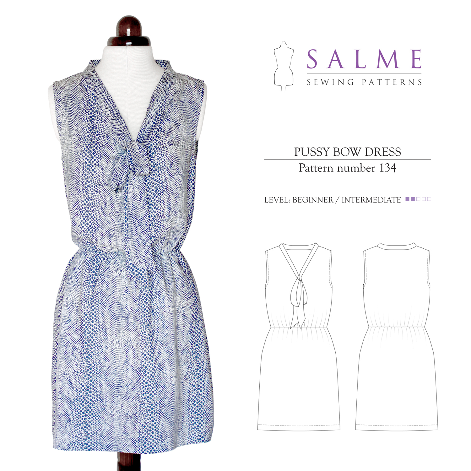 Salme Sewing Patterns Pussy Bow Dress Downloadable Pattern 134