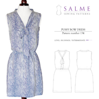Salme Pussy Bow Dress Digital Pattern