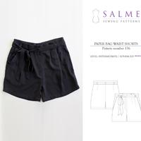 Salme Paper Bag Waist Shorts Digital Pattern