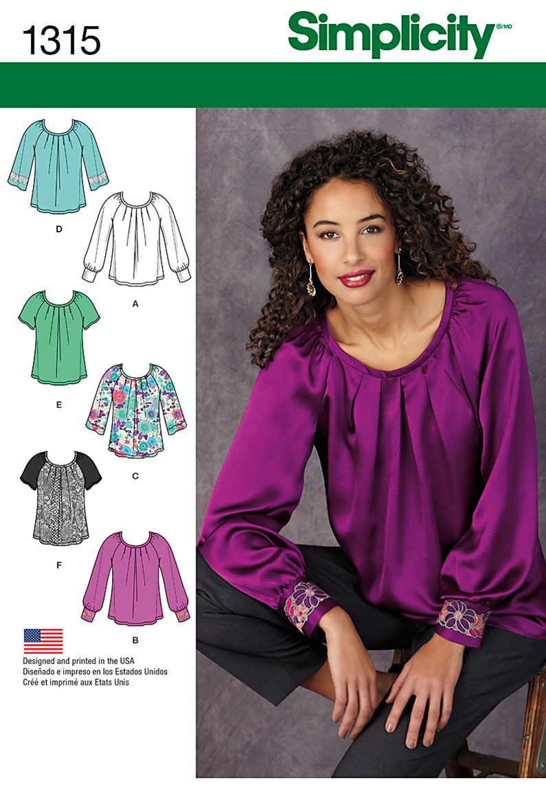 Simplicity Misses' Blouse with Sleeve & Trim Variations 1315