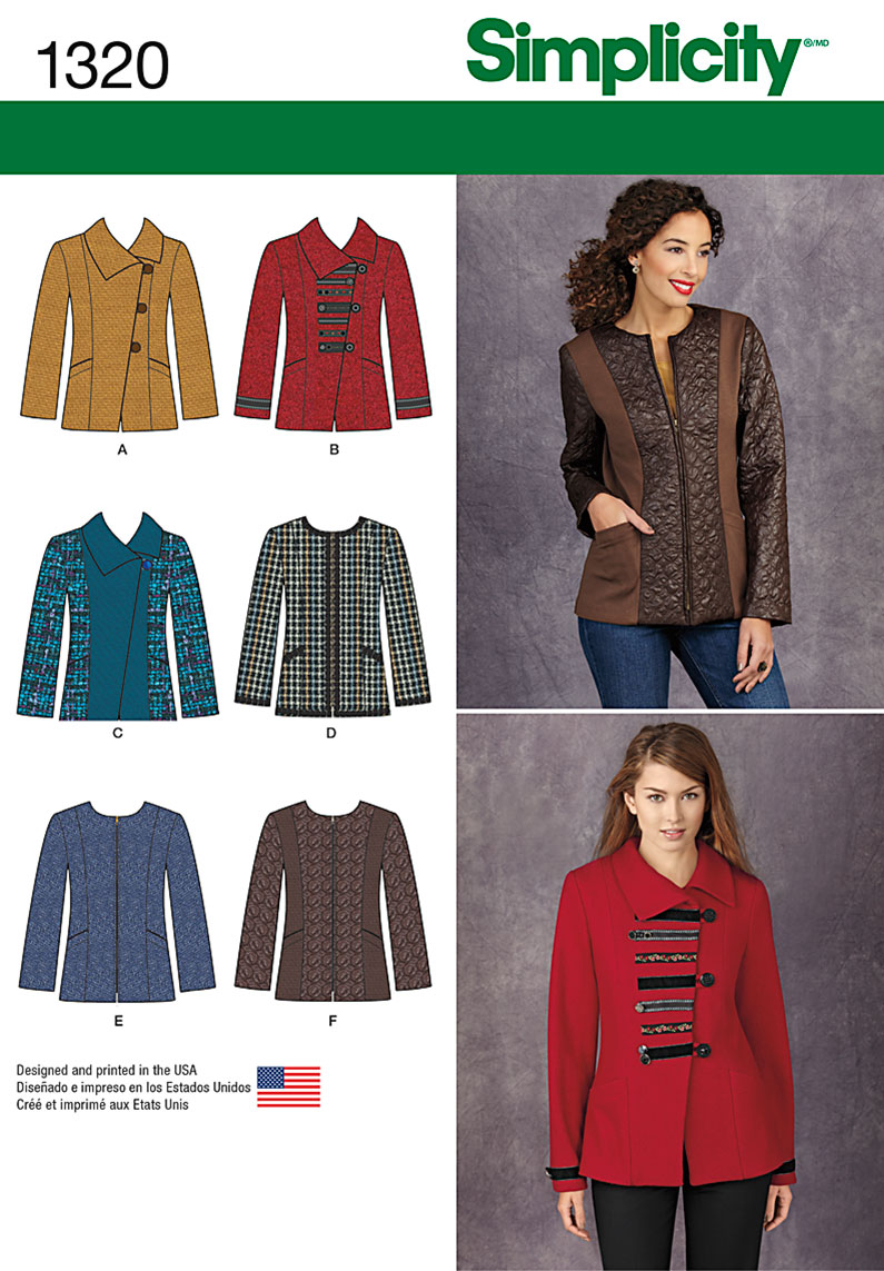 Simplicity Misses' Jacket with Front & Fabric Variations 1320