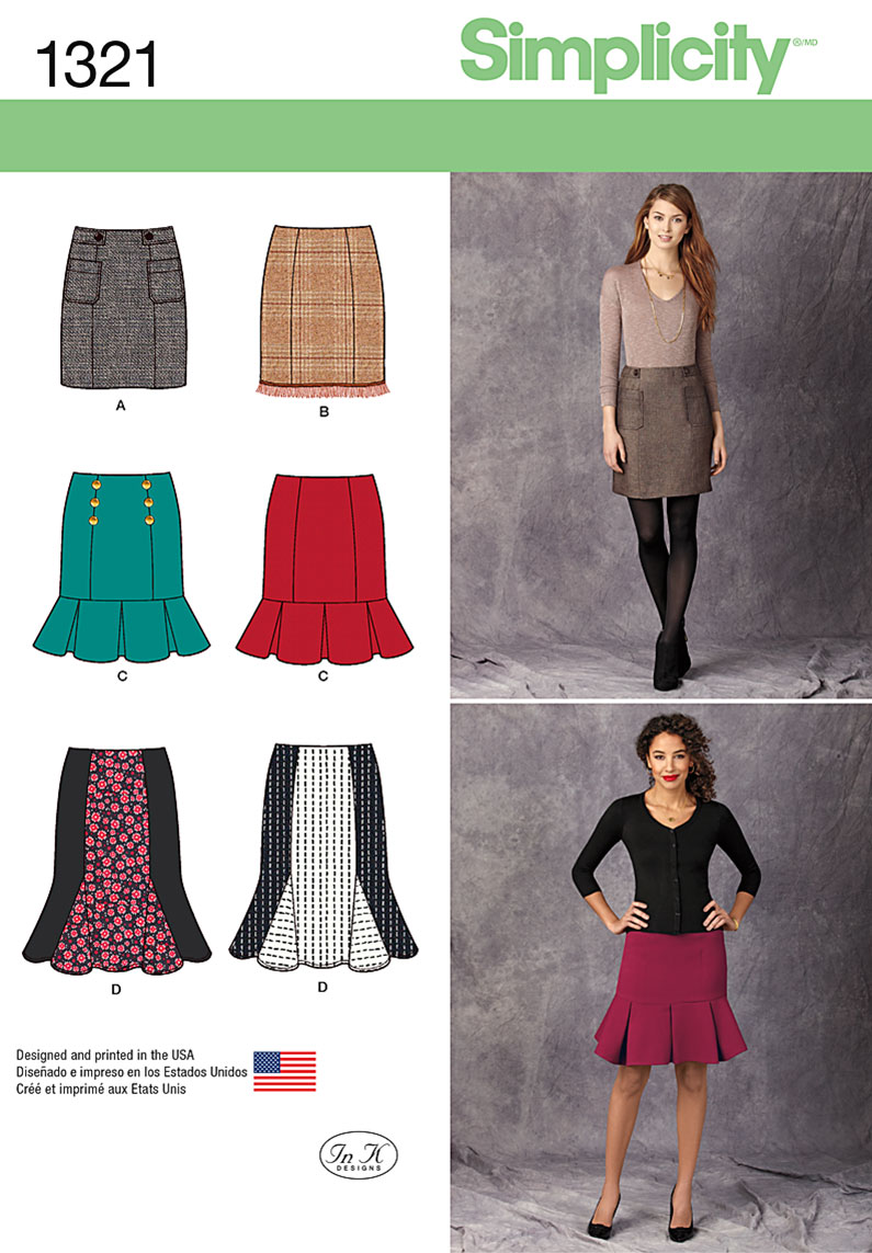 Simplicity Misses' Pencil, Flounce & Flared Skirts 1321