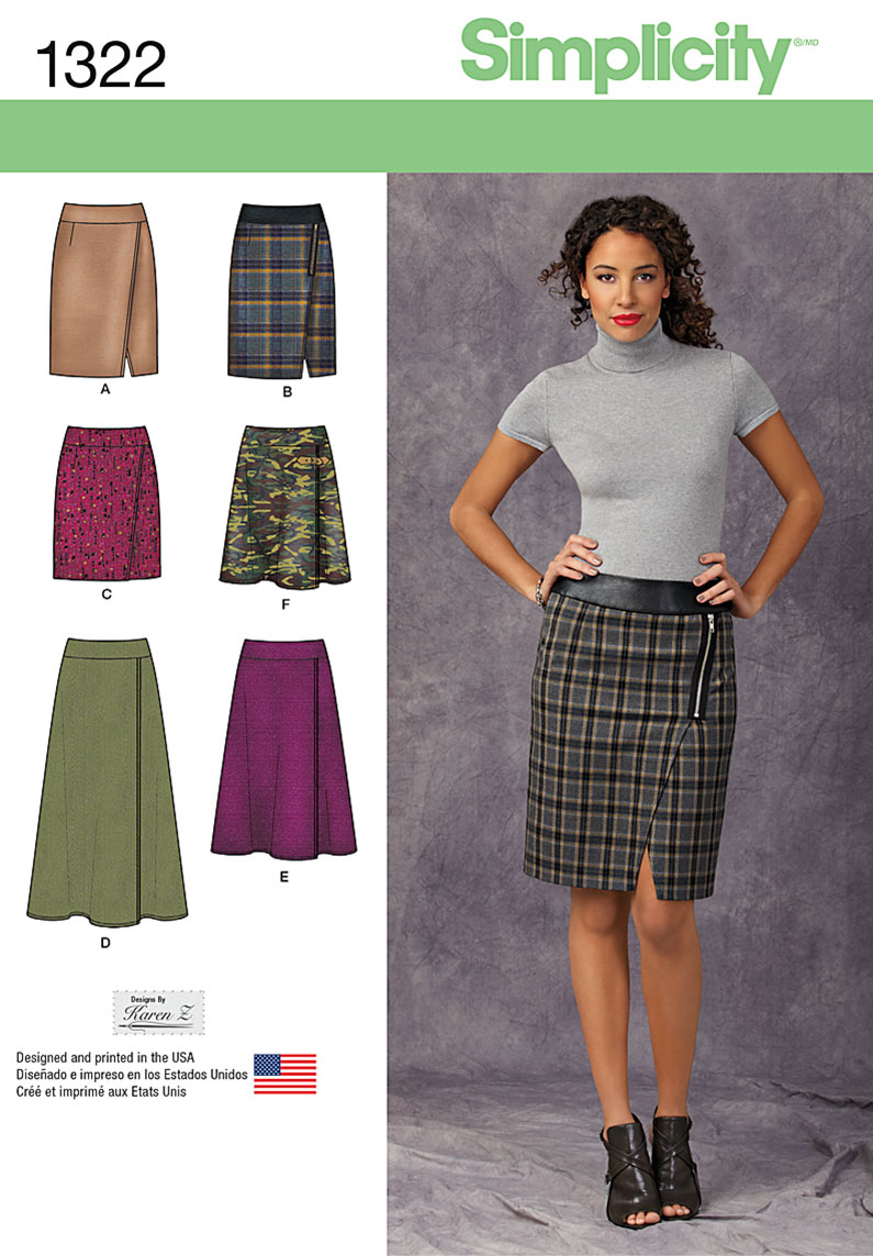 Simplicity Misses' Mock Wrap Slim & Flared Skirts 1322