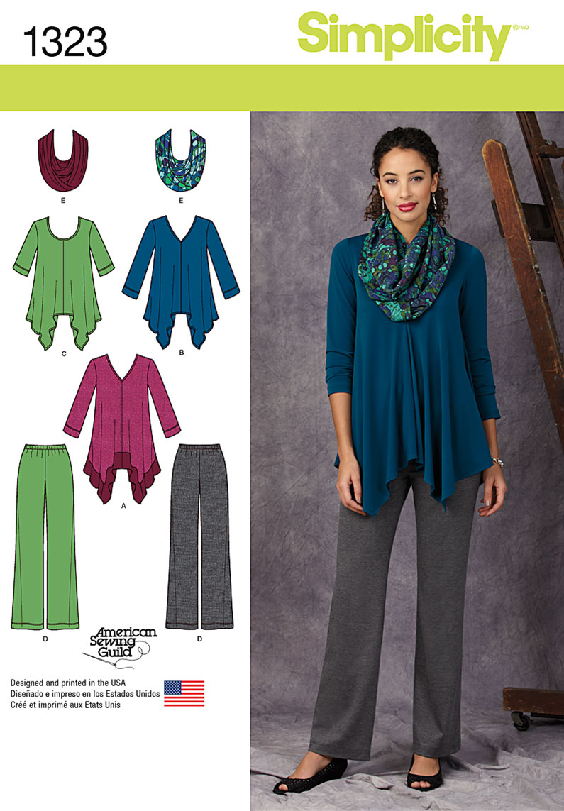 Simplicity Misses' Knit Tunics, Pants and Infinity Scarf 1323
