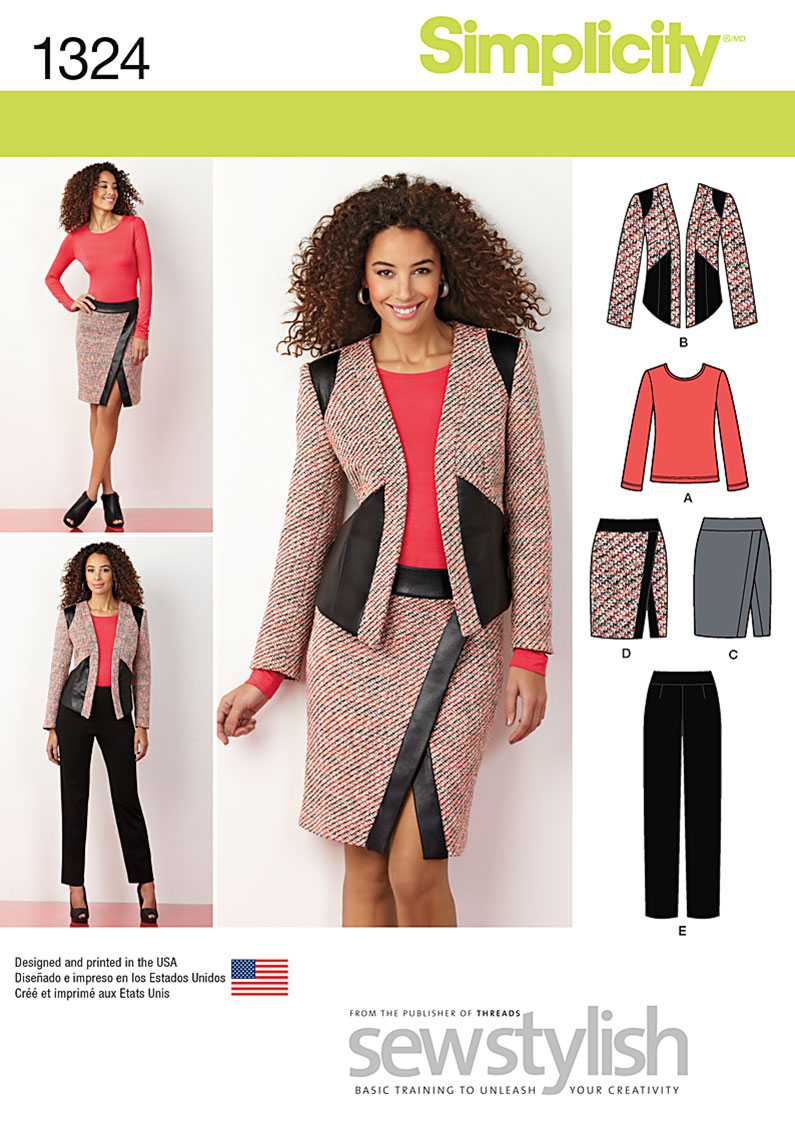 Simplicity Misses' Slim Pants, Skirt, Jacket & Knit Top 1324