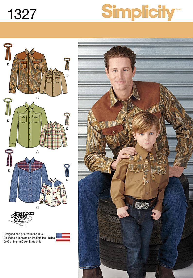 Simplicity Boys' and Men's Western Shirt and Tie 1327