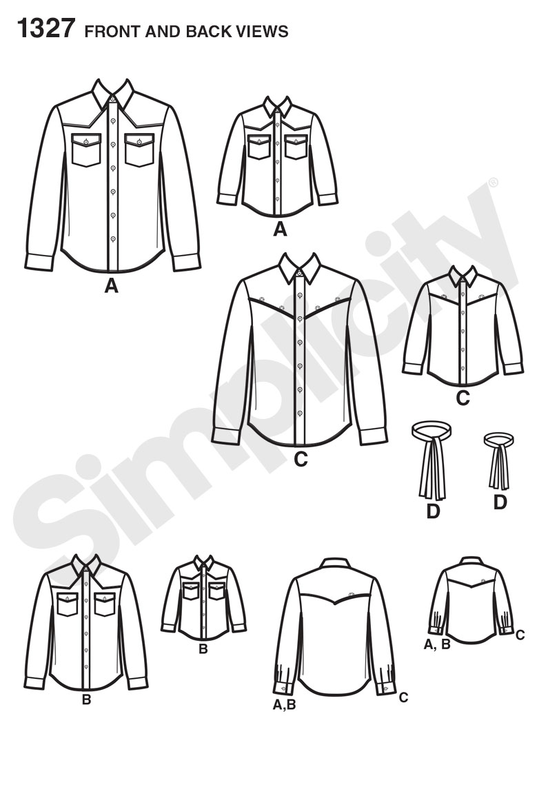 Simplicity 1327 Boys And Mens Western Shirt And Tie