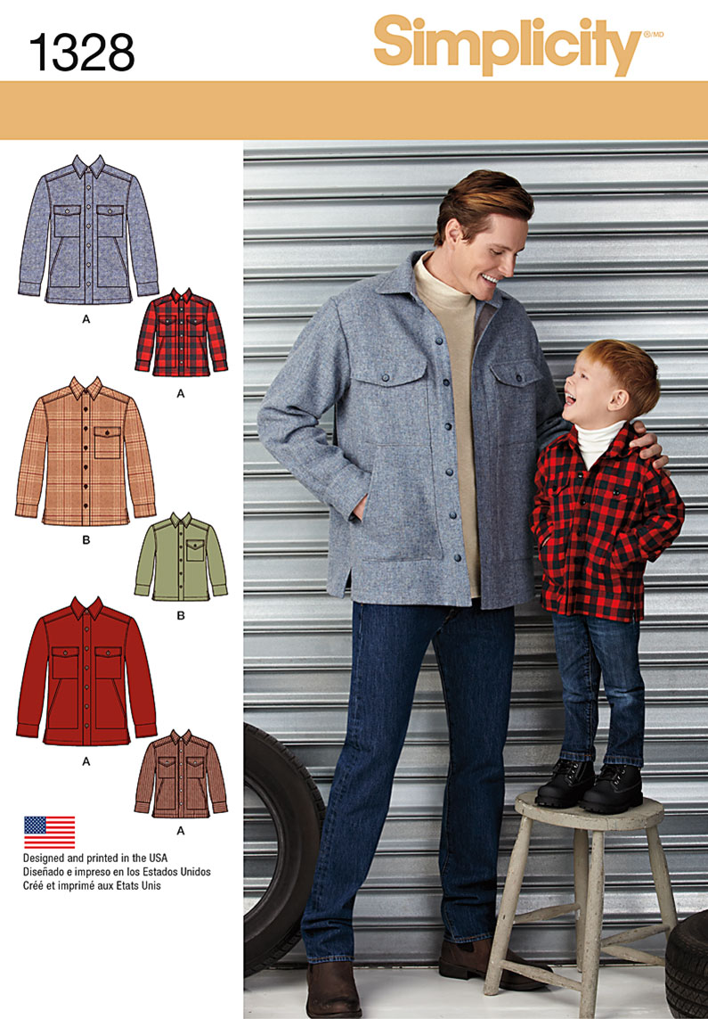 Simplicity Boys' and Men's Shirt Jacket 1328