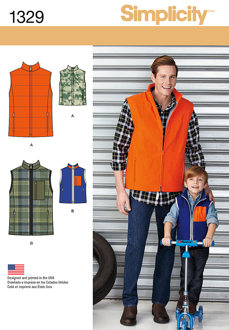 Simplicity Boys' and Men's Vests 1329