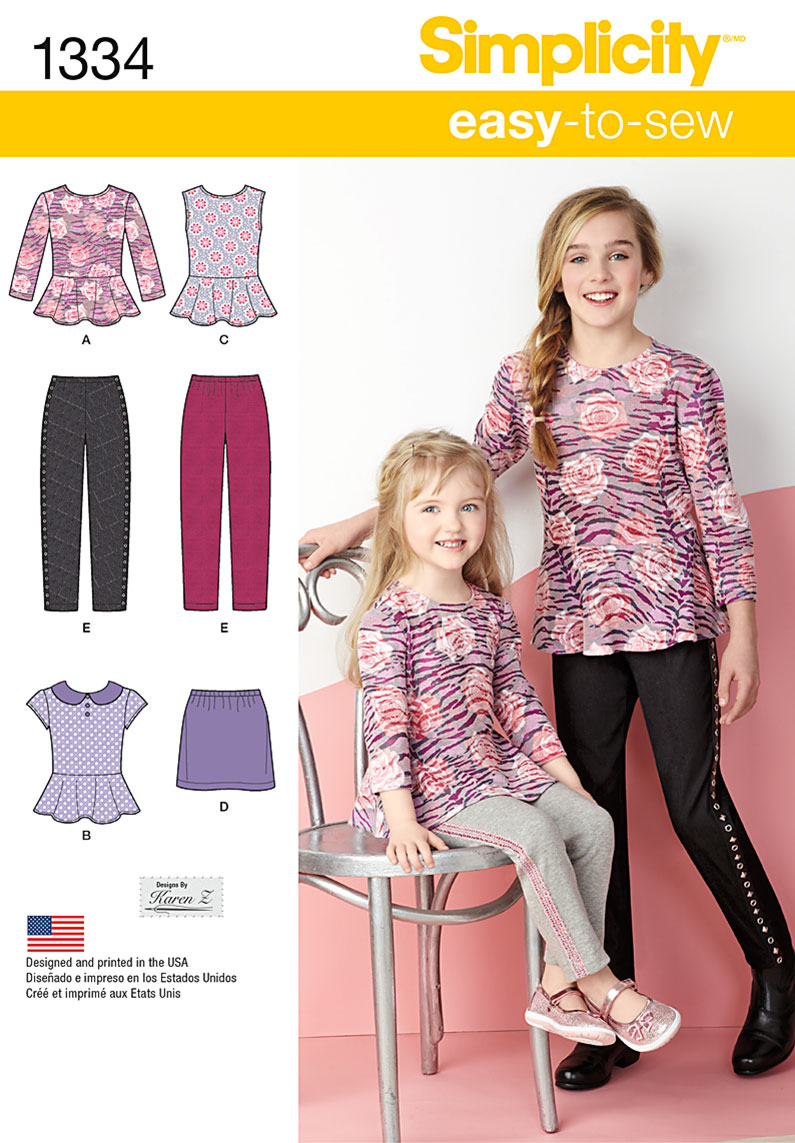 Simplicity Child's & Girls' Top, Mini Skirt and Slim Pants 1334