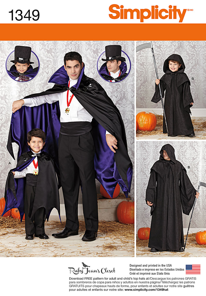 Simplicity Boys' and Men's Capes 1349