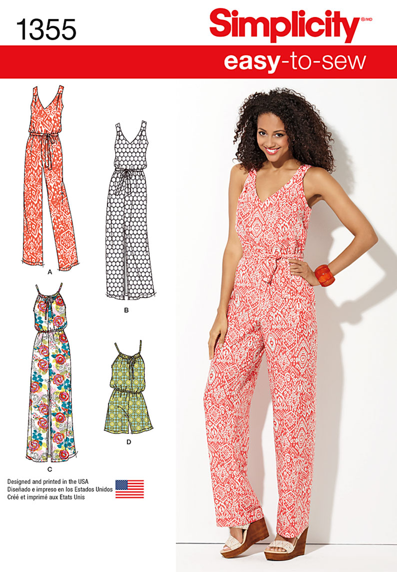Simplicity Misses' Maxi Dress and Long or Short Jumpsuit 1355